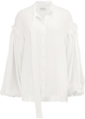 Osman Tie-neck Pleated Seersucker Shirt