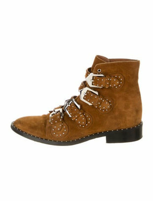 Givenchy Suede Studded Accents Lace-Up Boots