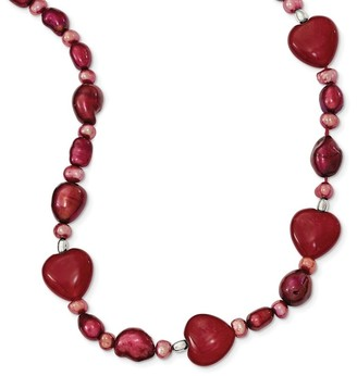 Sterling Silver Red Jade Hearts/Freshwater Cultured Pearl Necklace by Versil