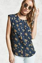 Forever 21 Floral Cap-Sleeve Blouse