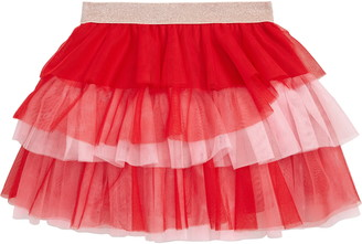 Truly Me Colorblock Tiered Mesh Skirt