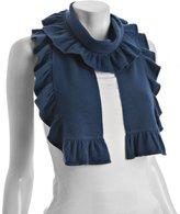 mystic blue cashmere ruffle trim scarf