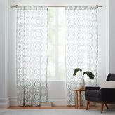 west elm Cotton Canvas Mosaic Medallion Curtain - Blue Lagoon
