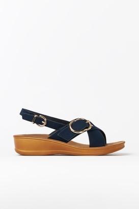 Wallis Navy Buckle Strap Sandal