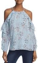 Aqua Ruffled Floral Cold-Shoulder Top - 100% Exclusive