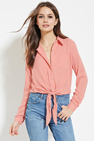 Forever 21 FOREVER 21+ Contemporary Knot-Front Shirt