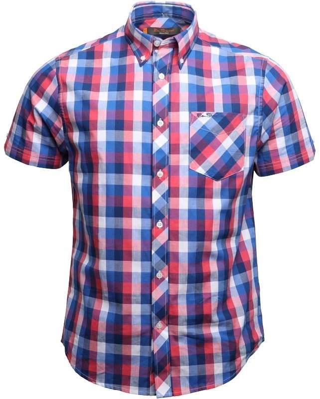 Ben Sherman Checked Short Sleeve Shirt Royal Blue