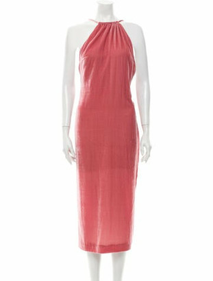Reformation Halterneck Midi Length Dress Pink