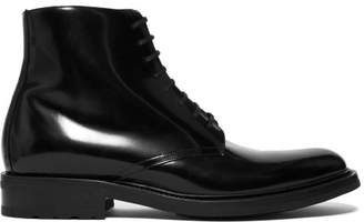 Saint Laurent Army 20 High Shine Leather Ankle Boots - Mens - Black