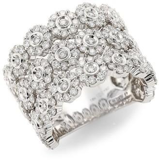 Hueb Diamond Flower 18K White Gold Ring