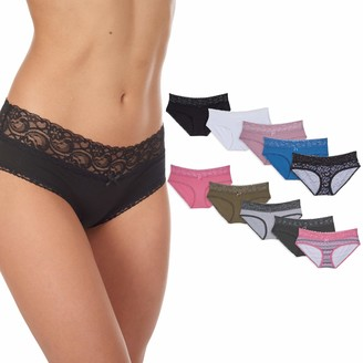 Cover Girl Women's 10 Pack Cotton Spandex Hipster Underwear Panties