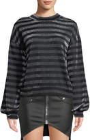 RtA Magnus Striped Metallic Slouchy Sweater