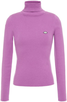 See by Chloe Appliqued Ribbed Cotton-blend Turtleneck Sweater