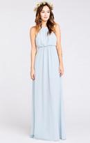 MUMU Amanda Maxi Dress ~ Steel Blue Chiffon