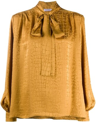 Anine Bing Crocodile-Print Silk Blouse