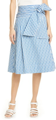 Tory Burch Gemini Link Stripe Wrap Skirt