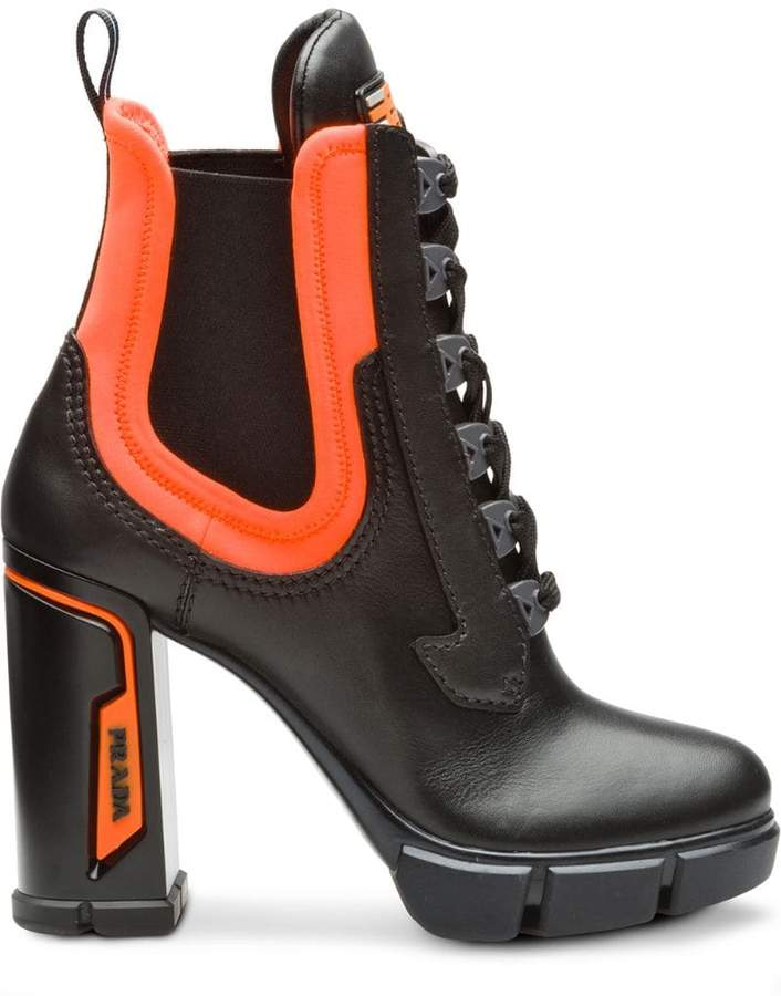 Prada chunky lace-up boots