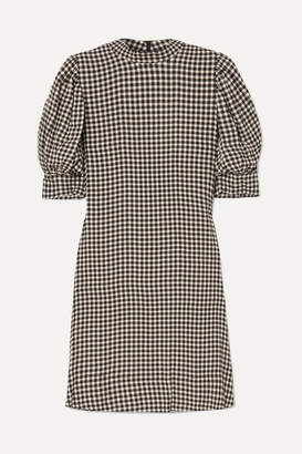 Ganni Gingham Crepe Mini Dress - Black