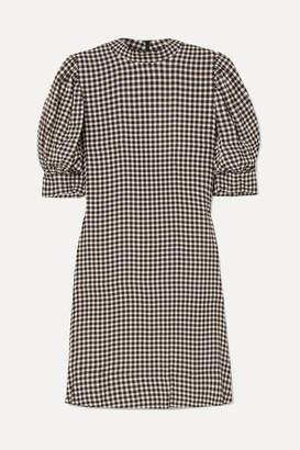 Ganni Gingham Crepe Mini Dress