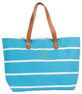 Cathy Women's Monogrammed Blue Striped Tote with Leather Handles - Cathy's Concepts