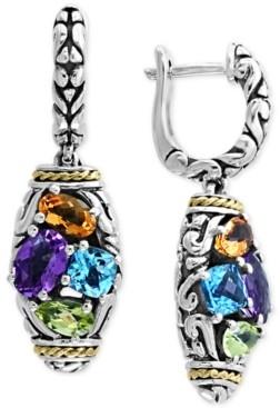 Effy Multi-Gemstone Drop Earrings (2-9/10 ct. t.w.) in Sterling Silver & 18k Gold