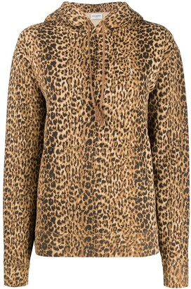 Saint Laurent Leopard-Print Cotton Hoodie