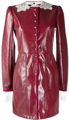 philosophy Lace-Trimmed Faux-Leather Dress
