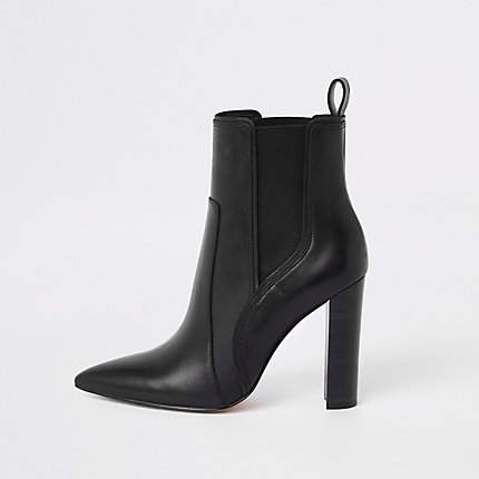 River Island Black leather pointed western heeled boot