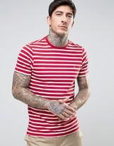 Farah Lennox Breton Stripe T-Shirt Slim Fit in Red/White