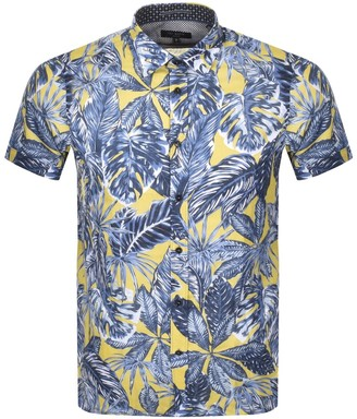 Ted Baker Upward Short Sleeved Shirt Yellow