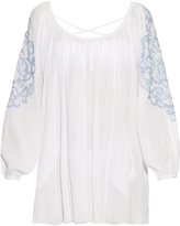 Juliet Dunn Embroidered-sleeve cotton kaftan
