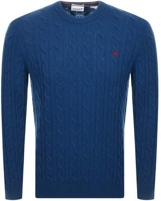 Timberland Lambswool Cable Knit Jumper Blue