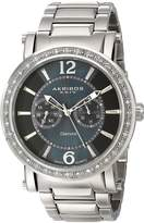 Akribos XXIV Men's AKR465SS Ultimate Stainless Steel Swiss Day and Date Diamond Watch