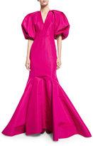 Zac Posen Puffed-Sleeve Silk Faille Trumpet Gown, Magenta