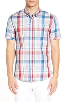 7 Diamonds Men's 'Wild Youth' Trim Fit Plaid Short Sleeve Woven Shirt