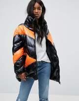 Asos High Shine Puffer Jacket In Colourblock