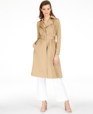 INC International Concepts Inc Plus Size Long Lace-Back Trench Coat, Created for Macy's