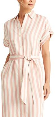 Lauren Ralph Lauren Striped Twill Shirtdress (Pink/White) Women's Clothing