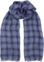 Corneliani Oversize Check Scarf, Blue, One Size