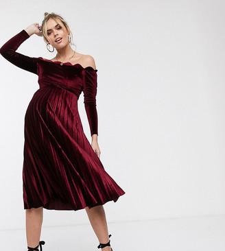 Asos DESIGN Maternity scallop top midi dress velvet-Red
