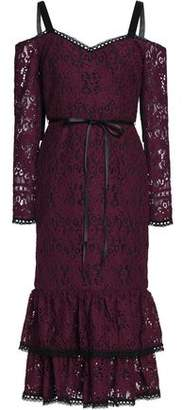 Alexis Maura Cold-shoulder Tiered Corded Lace Dress