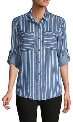 Pure Navy Rolled Cuff Striped Shirt