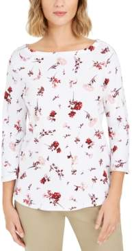 Charter Club Petite Printed Pima Cotton Top, Created For Macy's