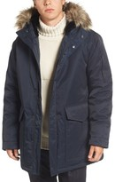 French Connection Men's Bystander Hooded Parka With Faux Fur Trim