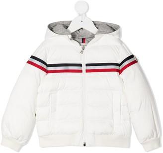 Moncler Enfant Stripe-Detail Down-Feather Coat