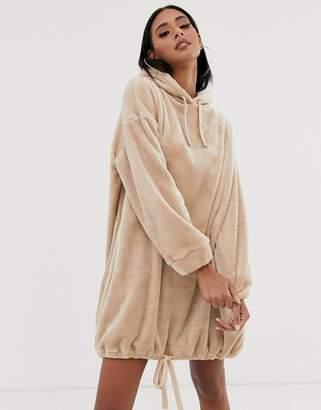 Asos Design DESIGN velour hoodie dress in camel-Beige