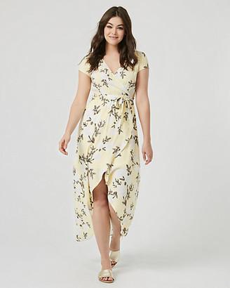 Le Château Floral Print Viscose Crepe High-Low Maxi Dress