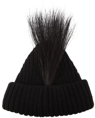 MARC JACOBS, RUNWAY Marc Jacobs Runway - Feather-trimmed Wool Beanie Hat - Black