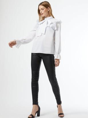 Dorothy Perkins Poplin Victorina Long Sleeve Top -White