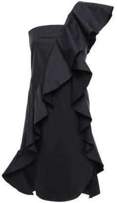 GOEN.J One-shoulder Ruffled Cotton-blend Poplin Mini Dress